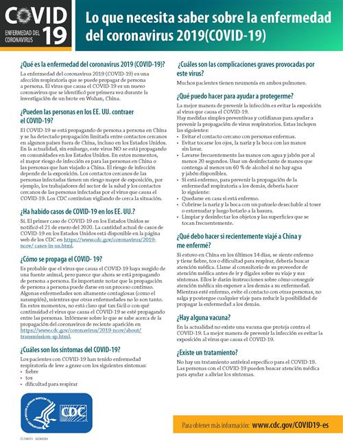 Spanish version of CDC COVID-19 fact sheet