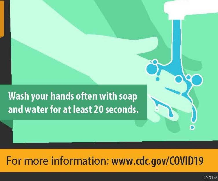 Section of CDC poster showing handwashing recommendation