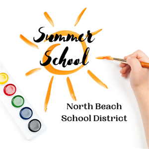 Child painting sun with Summer School North Beach School District superimposed.