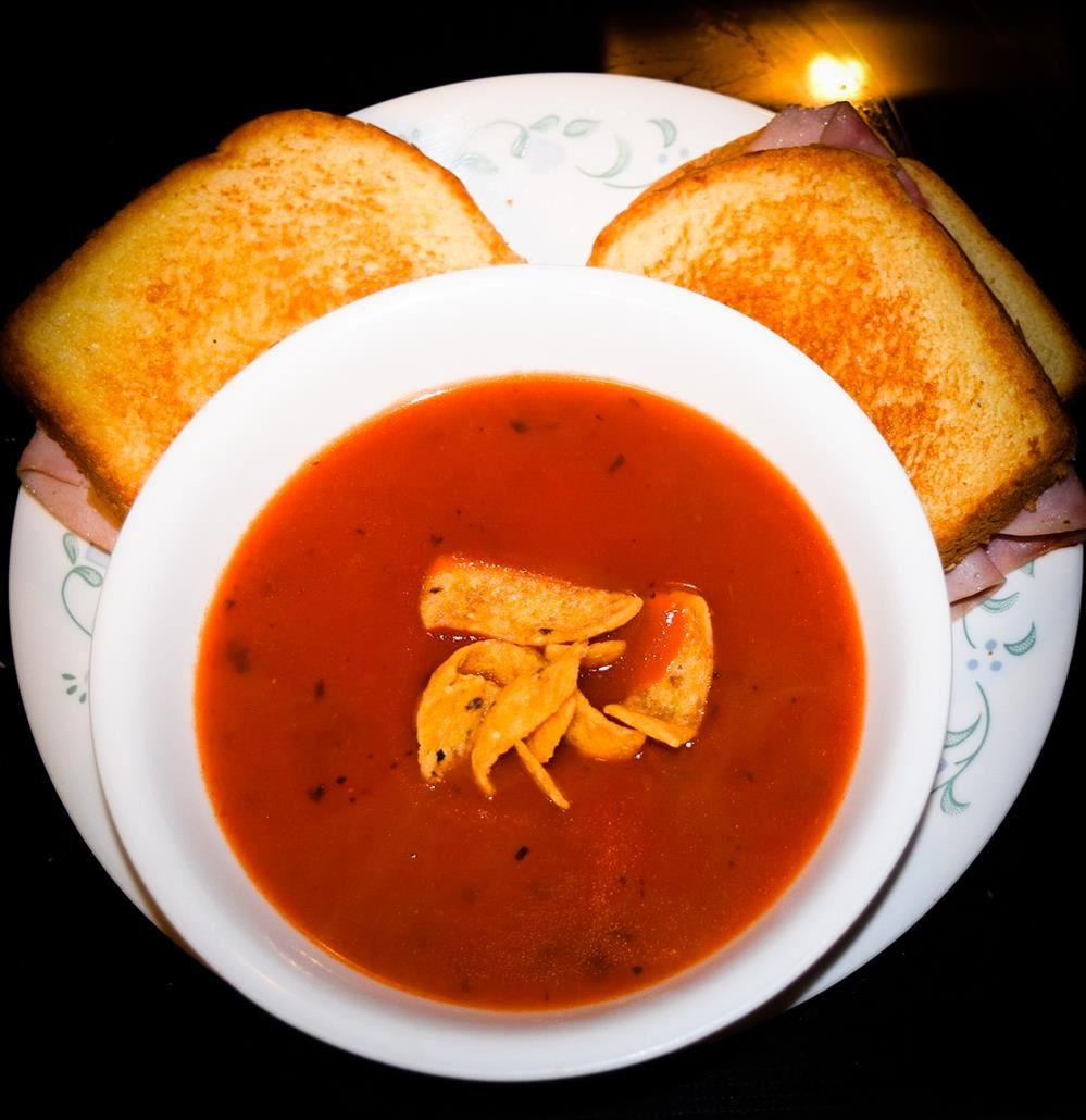 tomato soup and sandwich