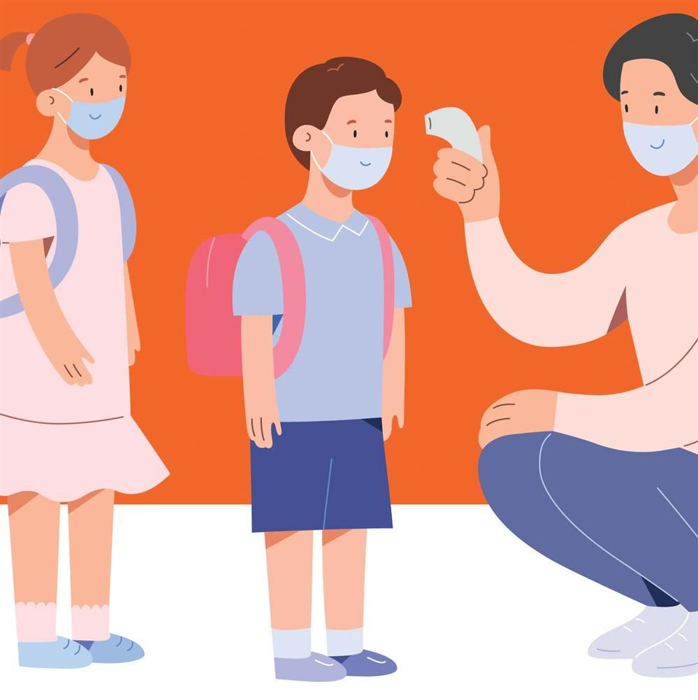 Illustration of children with adult taking their temperature