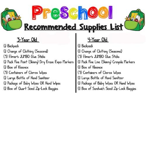 Pre-kindergarten Pacific Beach Elementary Supply List 2020-2021